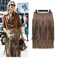 Мода винтаж юбки-line 2015 новых тяжелых иерархическая высокая талия прямые кожаная юбка бахромой из замши кисточкой Saias юбки женская