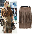 Fashion Vintage Skirts 2015 New Heavy Hierarchical High Waist Straight Leather Skirt Fringed Suede Tassel Saias Skirts Womens