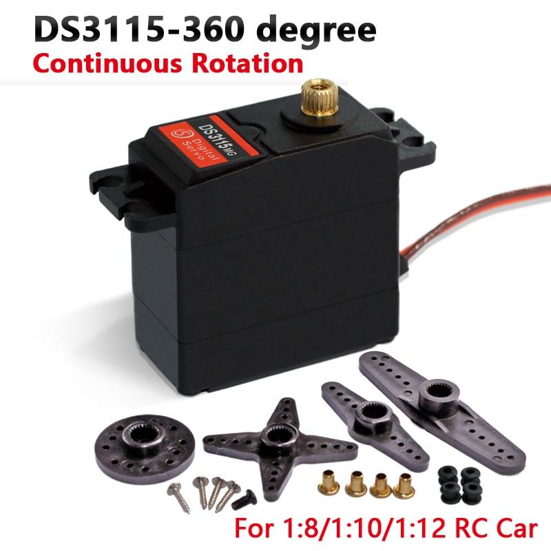 1x servo 360 degree Continuous Rotation Servo DS3115 Metal gear arduino servo Digital servo 10kg/cm|servo for rc car|servo robot|servo rc - title=