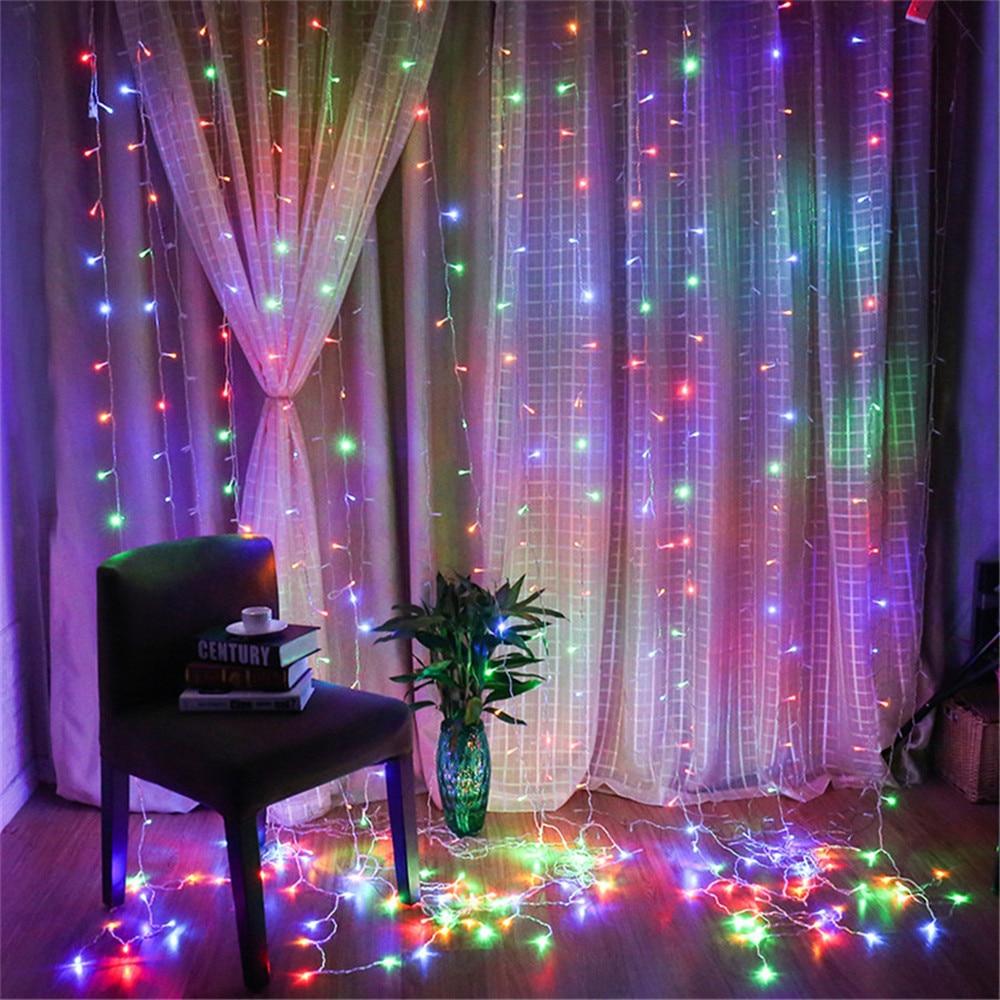 6cf0a99b28f Led cortina icicle hada luz guirnalda modo al aire libre navidad ventana de  fondo de la