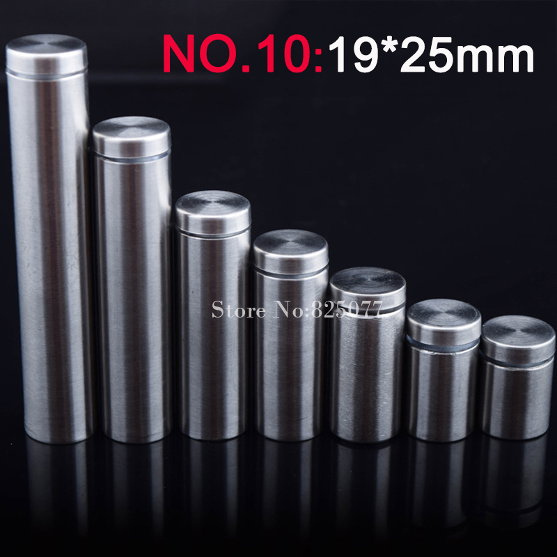 500PCS 19*25mm Stainless Steel Fasteners Advertisement Glass Standoff Hollow Screw Glass Cabinet Display Screw KF842-in Screws from Home Improvement    1