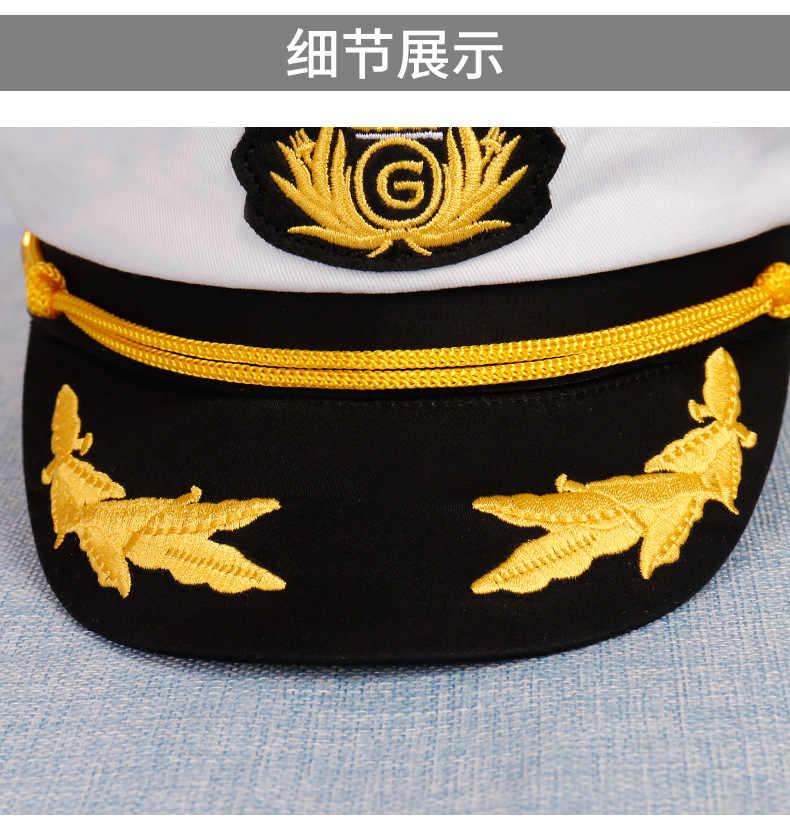 a37ec1b6 ... 2019 New Men Women Cotton Sailor Captain Pilot Hat Costume Uniforms  Party Perform Flat Navy Military ...