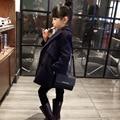 2015 de invierno niña doble breasted delgada del todo fósforo de moda engrosamiento niño abrigo prendas de vestir exteriores
