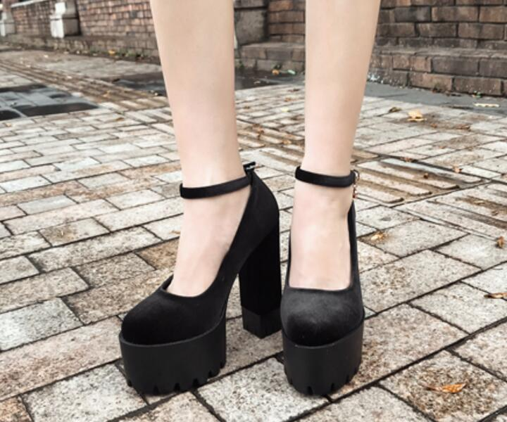 e4df3a0459485d Talons F181686 Sapato Sabot Black Mujer Partie Matures Femme Haute  Chaussures Bout Filles Boucle Femmes Dames Western Pompes Zapatos Feminino  Rond EFwnxUxqO