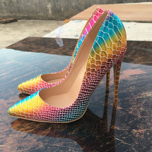 Free shipping  fashion women pumps snake printed rainbow leather pointed toe high heels shoes pumps 12cm 10cm 8cm Stiletto free shipping fashion women pumps casual green patent leather printed pointed toe high heels shoes 12cm 10cm 8cm stiletto heels