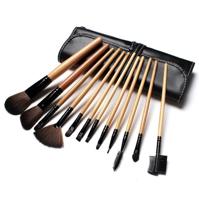 Профессиональная 12 шт Кисть для макияжа лица набор с черной кожаной сумкой набор кисточек для макияжа