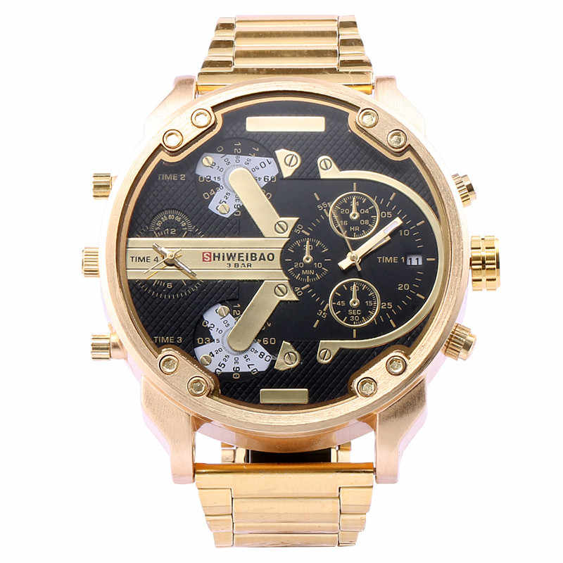 brand sport Quartz Military business watches Men golden Steel Strap Dual Display Chronograph watch dz style relogio masculino