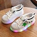 2017 Весна Дети Повседневная Shoes Light Up Мальчиков Кроссовки Детей Светящиеся Shoes Glitter Sport Shoes