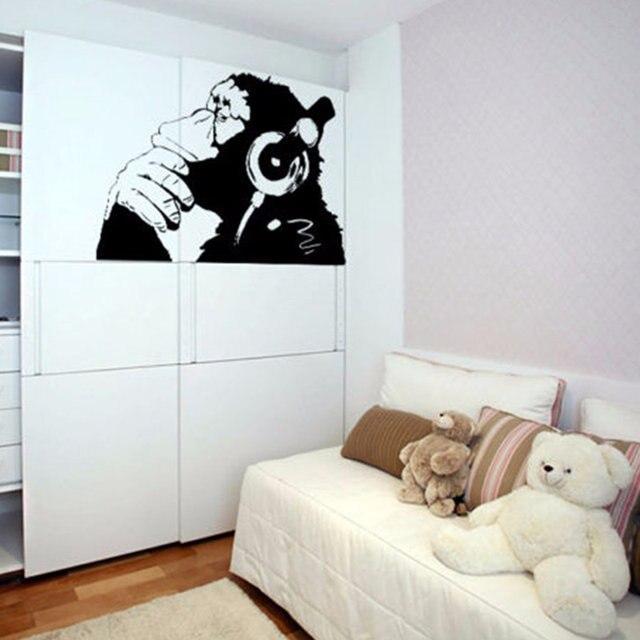 Online Shop Banksy Vinyl Wall Decal - Monkey With Headphones Banksy ...