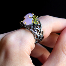 Hollow design Oval Pink Opal stone Ring Trendy Gun Black Jewellery Top quality Fast delivery Women Brass Jewelry rings