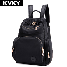 Kvky женщин водонепроницаемый нейлон рюкзак студент книга сумка кошелек сумка для ноутбука дамы школьные сумки для подростка рюкзак mochila feminina
