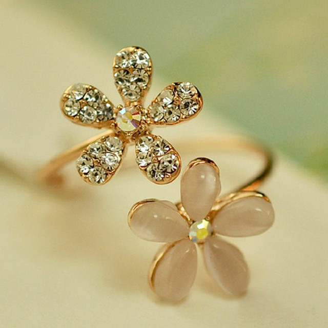 Pretty Flower Studded Gold Plated Open Toe Rings for Women
