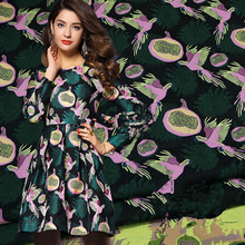 1Meter Autumn Winter Jacquard Brocade Yarn Dye Bird Fabric African Lace Material Sew Clothes Coat Patchwork 148CM 420g/m