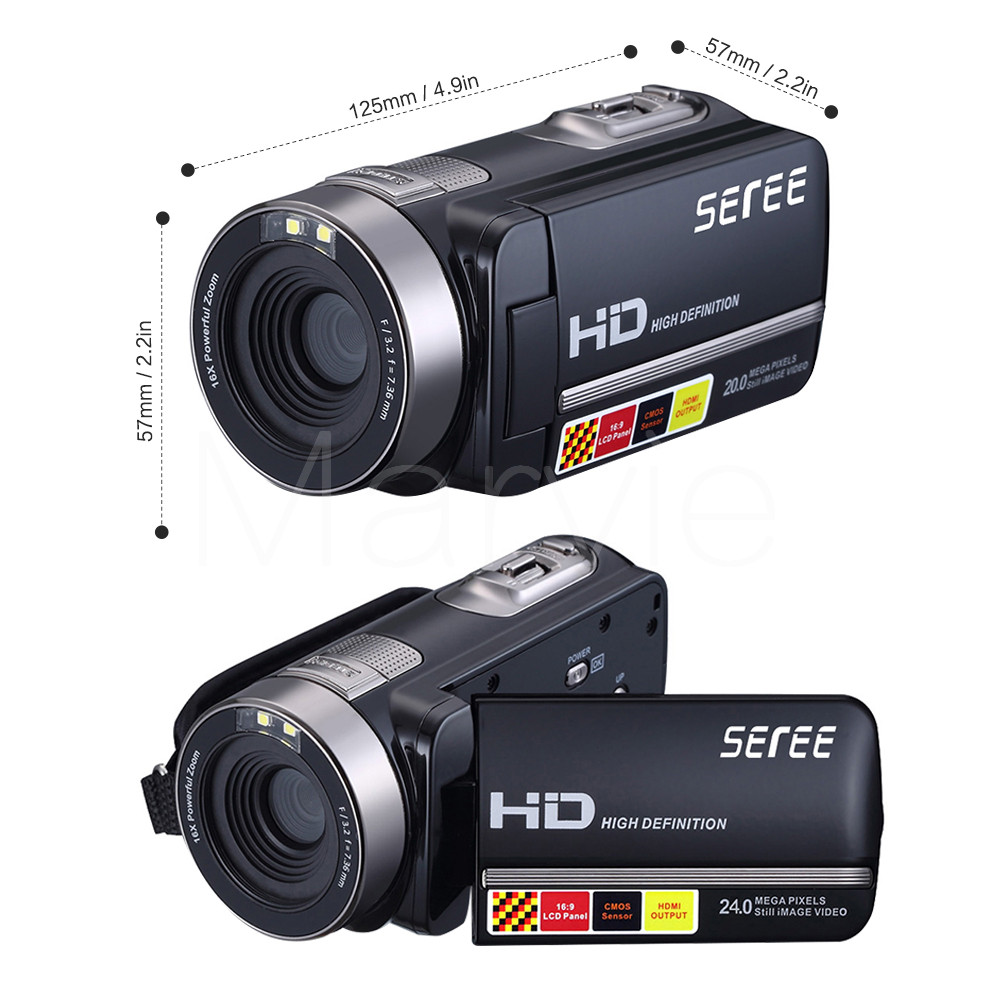 Seree 17 Latest HDV-301 Portable Camcorder Full HD 1080P 16x Digital Zoom Digital Video Camera Recorder DVR 5