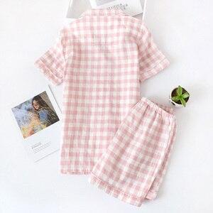 Image 5 - Sommer Neue Männer Und Frauen Pyjamas Set Einfache Stil Plaid Komfort Baumwolle Nachtwäsche Set Kurzarm + Shorts Homewear Casual tragen