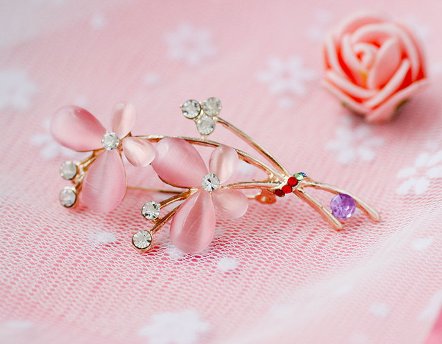 Pink Opal Butterfly Shaped Brooch