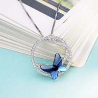 Bella Fashion 925 Sterling Silver Blue Butterfly Bridal Necklace Austrian Crystal Pendant Necklace For Wedding Party Jewelry
