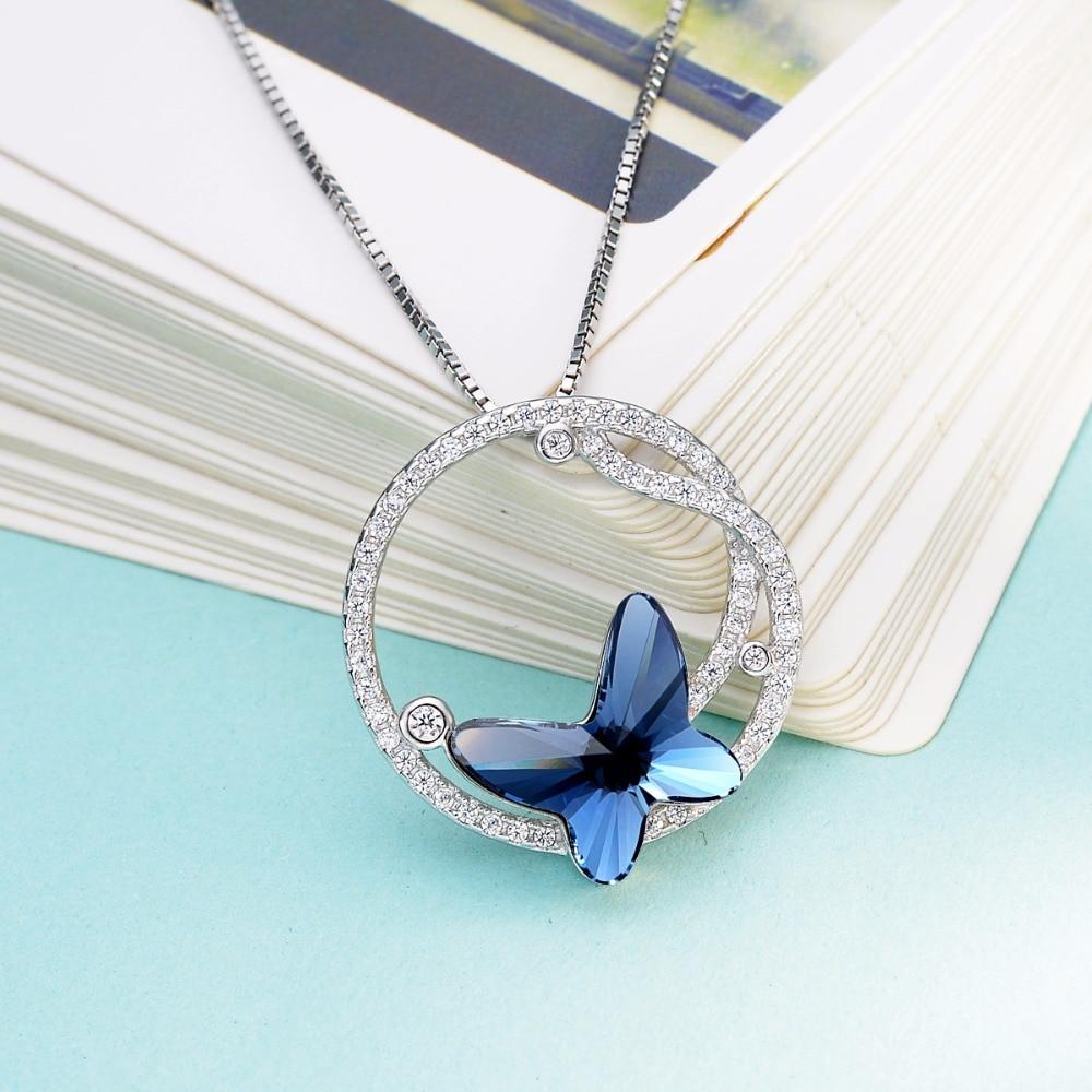 Bella Mode 925 Sterling Argent Bleu Papillon De Mariée Collier Autrichien pendentif en cristal Collier Pour Les Bijoux De Mariage