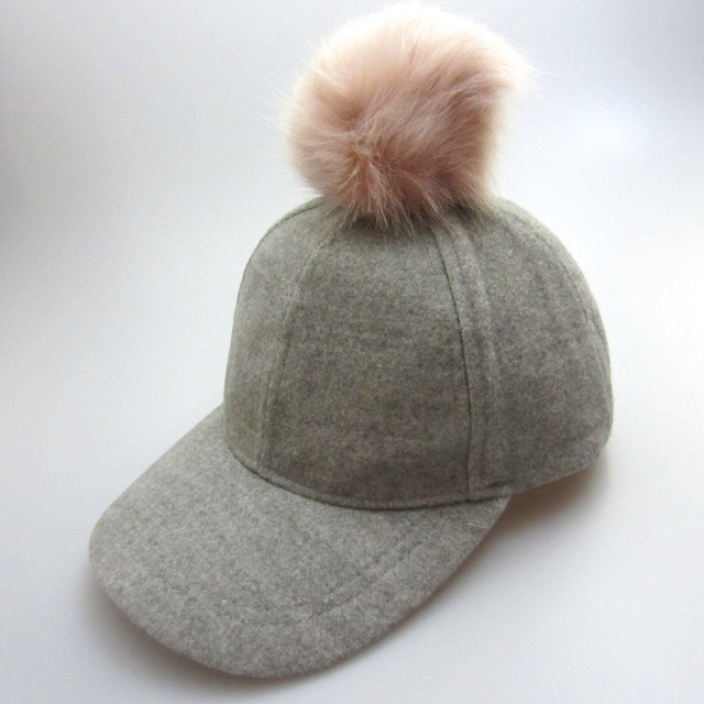 Woolen Baby Girl Cap With Pompom Ball Mother  Kids Adjustable Baseball Cap  Gray Color Kids Knight Hat Hiphop Hat Christmas Gift 56eb428d538