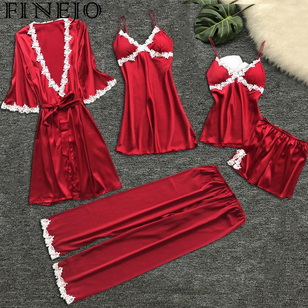 Sexy Women Robe & Gown Sets Pajamas Lace Nightdress Solid 5 PCS Summer Femme Nightgown Set Faux Silk Robe Sleepwear Sets