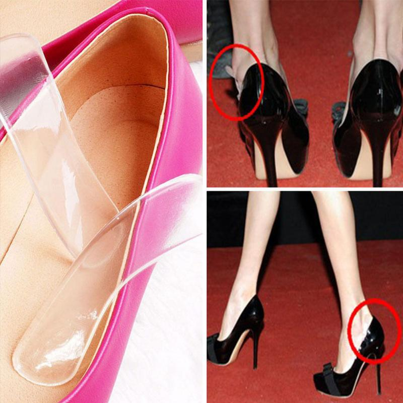 1 Pair High Quality Silicone Gel Back Heel Liners Cushion Pads High Insoles Grip For Shoes Foot