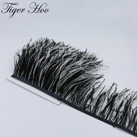 Double Color Dyed Ostrich Feather Trims Real feathers Fringe Height 10 15CM For Wedding Party Decoration DIY Dress Accessories