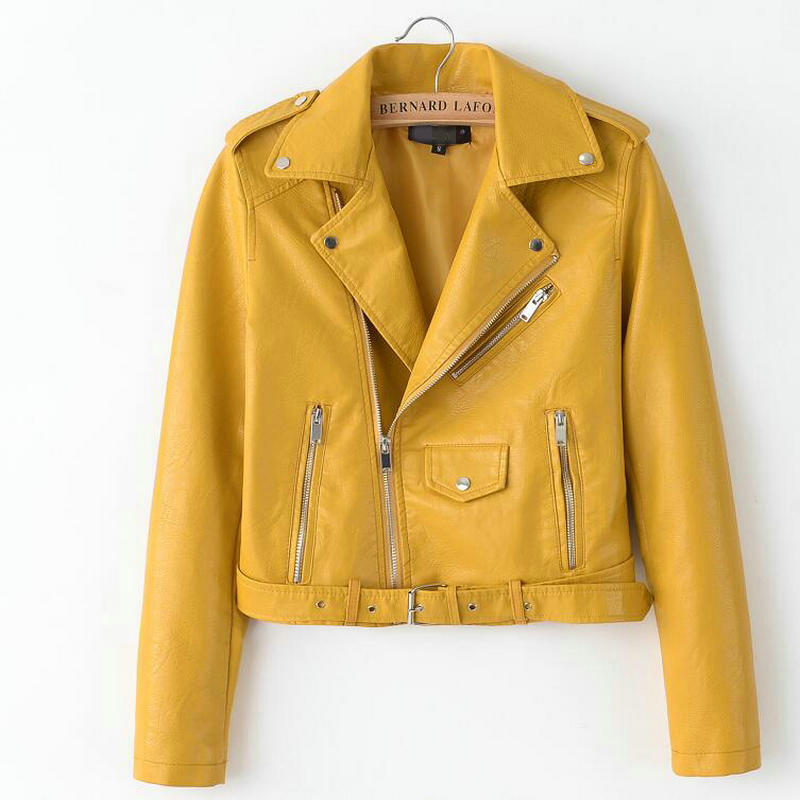 2019 Spring Bright Yellow Women PU Leather Jackets Zipper Leather Coat Turn-down Collar Female PU Jackets Pink Black Color