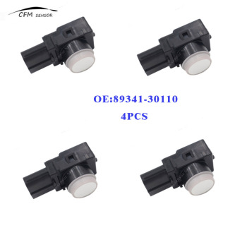 4pcs New 89341-30110 PDC Parking Ultrasonic Sensor For Toyota White