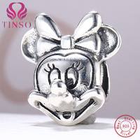 High Quality 100% Real 925 Sterling Silver Minnie Mouse Beads Fit Pandora Charm Bracelet DIY Original Silver Fashion Jewelry