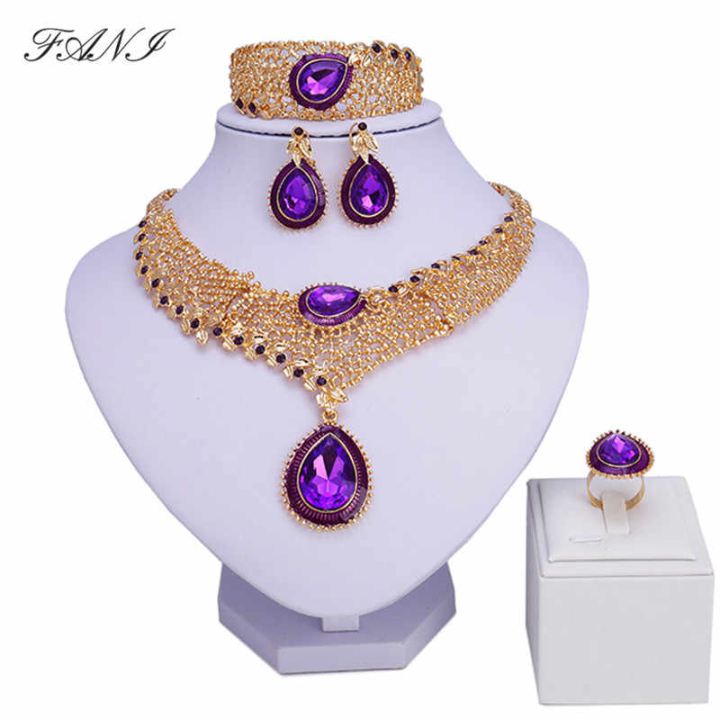 Fani Fashion African Jewelry Sets Women Costume Nigerian Wedding Jewelry set Brand Dubai gold color Jewelry set Wholesale design