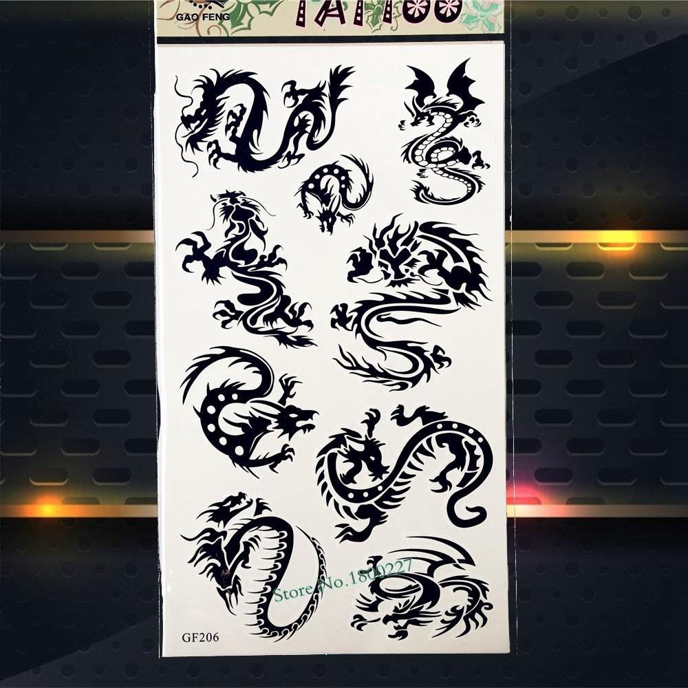 oscuro negro ttem dragn tatuaje temporal hombres del brazo del flash del tatuaje pegatinas pgf nios