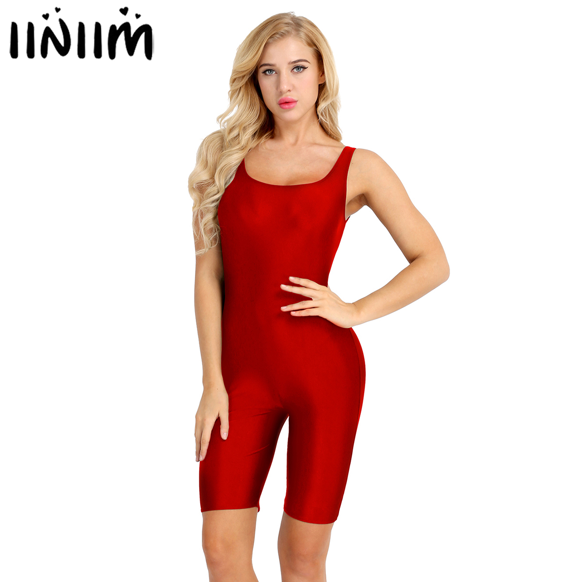 Womens Sleeveless Bodycon Ballerina Costumes Stretch Skinny Solid Sports Active Dance Gymnastics Leotard Bodysuit Jumpsuit