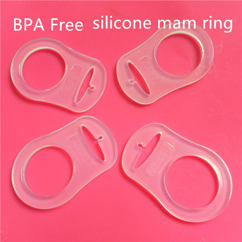 Chenkai 100pcs Clear Silicone Mam Adapter O Rings Baby Pacifier NUK Dummy Adaptor Rings DIY Jewelry Toy Accessories BPA Free
