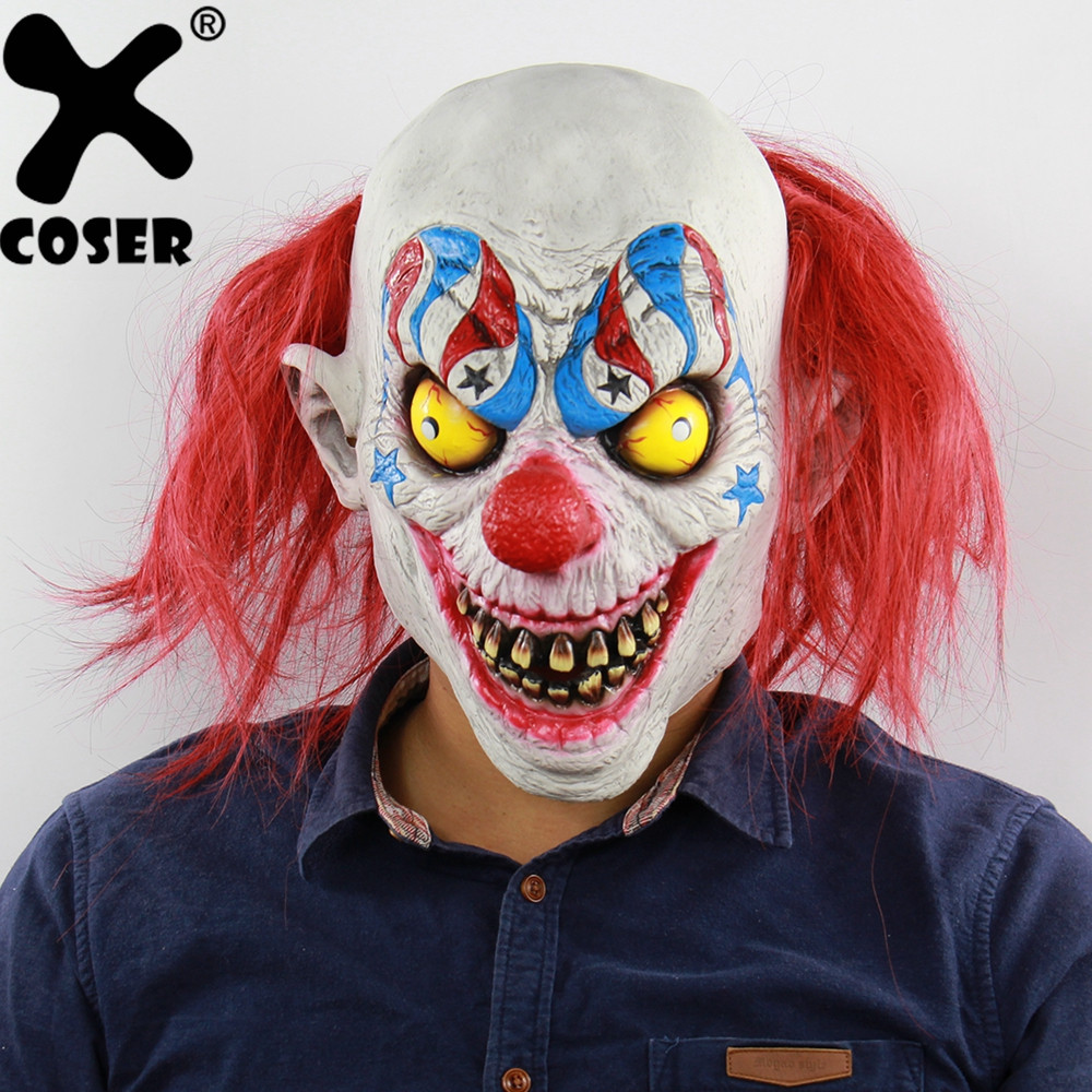 XCOSER Clearance Sale Halloween Horror Red Nose Clown Mask Circus Latex Mask Carnival Party Cosplay Costume Props for Adult