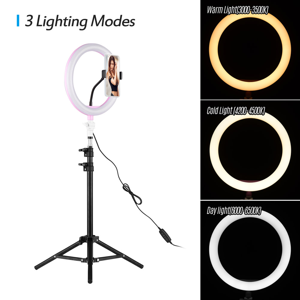 Desktop Floor Dual-use Mirror Self-Timer Set 10-inch 5-in-1 Brightness Adjustable Ring Light vividesire 26cm LED Ring Fill Light for Makeup//Studio//Live Broadcast//Self-Timer Lighting Kit feasible