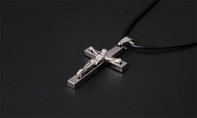 Christian Titanium Steel Crucifix Jesus Piece Cross Pendant Necklace Black Leather Chain Necklace Women Men Jewelry Accessories in Pendant Necklaces from Jewelry Accessories