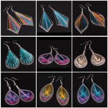 Women Slimple Fashion Popular Silk Thread Earrings Handmade Cotton Oval Exaggerated Pendant Jewelry