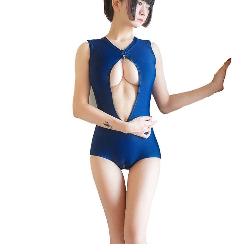 Hot Japanese Sukumizu School swimsuit One Pieces women Blue Bathing suit Sexy Two Zipper swimwear Slimming Bikini With Pad