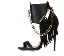 Stylish Fringe Sandals Cool Black High Heel Chain Tassel Shoes Oval Open Toe Zip Cover Heel Cut Out Booties Runway Novelty Pumps