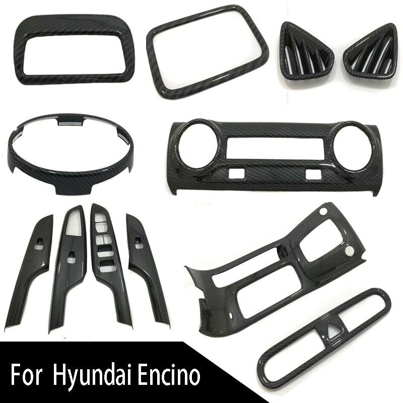 Carbon Fiber ABS Chrome Auto Car Styling Inner Accessories Window Lift Door Panel Cover For Hyundai Kona Kauai Encino 2019 2018