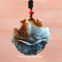 Naturalne szare Hetian Jades Wisiorek 3D Rzeźbione Miłość ryby Wisiorek Naszyjnik Prezent dla Kobiet Biżuteria męska Darmo Liny
