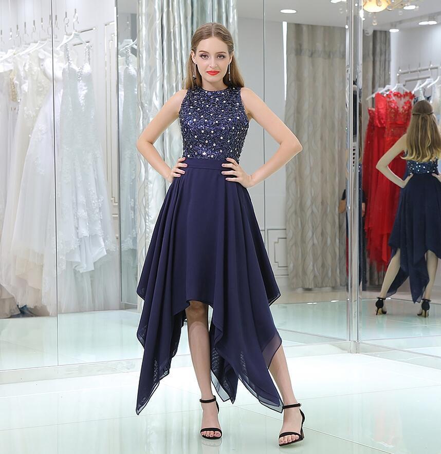 Navy Blue Prom Dresses Cheap Dress Sexy Sleeveless Beaded Crystals