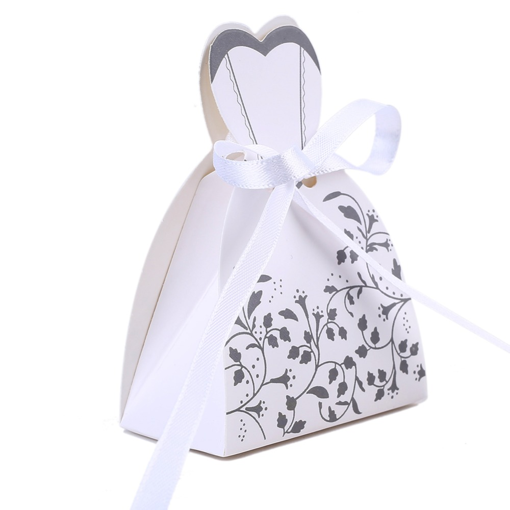 50pcslot candy box bride dress candy bag wedding favors boxes with ribbon birthday party