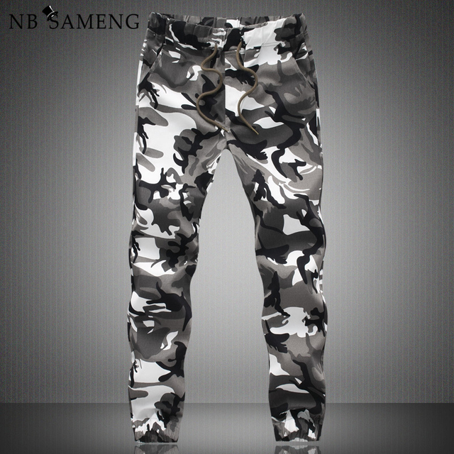 Free shipping 2016 New Fashion Military Camouflage Drop Crotch Joggers Cargo men long Pants Army Harem JoggingTrousers