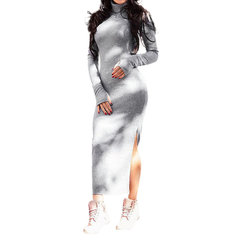 Women Knitted Dress Turtleneck Split Spring Autumn Dresses Long Sleeve 2018 Robe Plus Size Casual Winter Dress New GV177