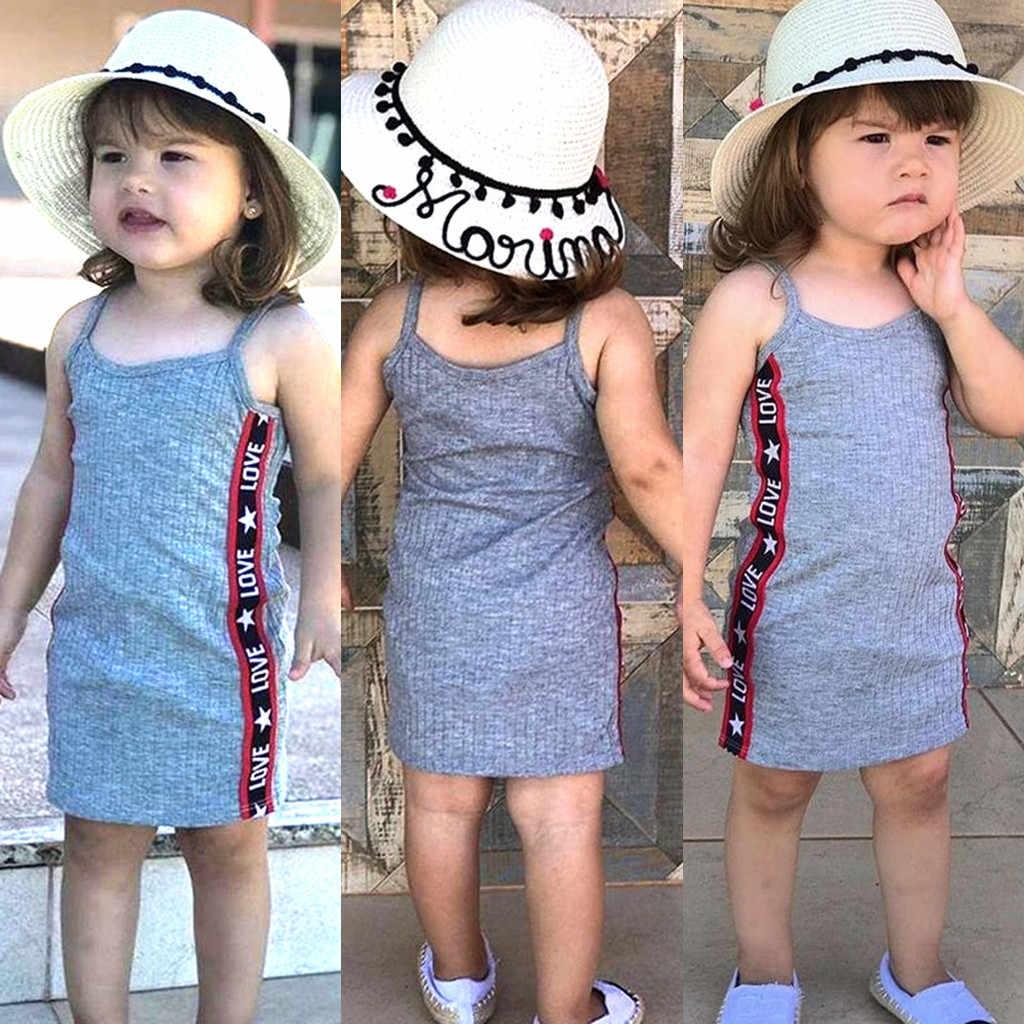 Летняя одежда для маленьких девочек детская повседневная юбка принцессы без рукавов с надписью «love» Детская одежда платье для девочек