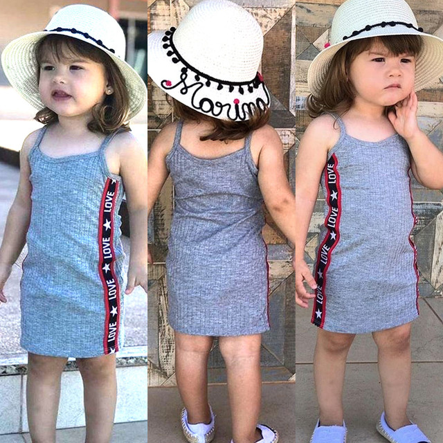 Summer toddler girl clothes Bady Children's sleeveless sling letter love print princess casual skirt  kid clothes girl dress