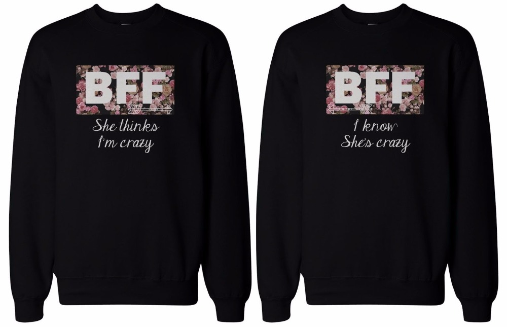 Fashion Matching Women Sweatshirt Black Gray Best Friends Crazy BFF Floral Print Sweatshirts Hiphop Pullover Brand Clothing Tops