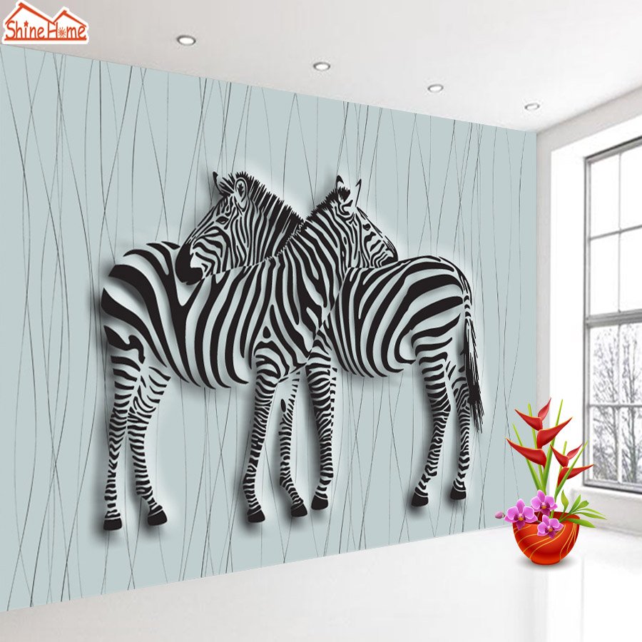 ShineHome-3d Room Wallpaper Black and White Zebra Blue Strips Wallpapers 3d for Walls 3 d Livingroom Wallpapers Mural Roll Paper shinehome europe church black and white painting wallpaper wall 3d murals for walls 3 d wallpapers for livingroom 3 d mural roll