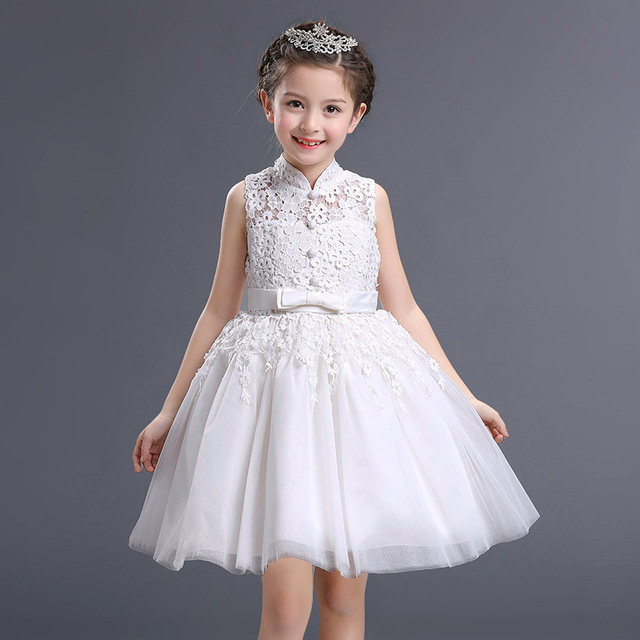 Kids Princess Flower Girl Dress For Wedding Party High Quality Bridesmaid  Kids Bow Sleeveless Lace Tulle de888b7997e4